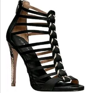 COACH Josey Vegan Leather /Print Snake Black Heels